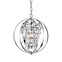 Crystal Orb Chandelier Chrome 1 Light Modern Pendant Lighting Entryway Ceiling Light Fixture