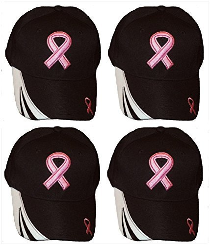 Set Of 4 Breast Cancer Awareness Pink Ribbon Baseball Caps Hats / Pink on Black