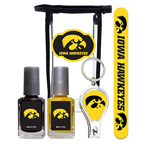 (Iowa Hawkeyes Manicure Pedicure Set with 7-Inch Nail File, Nail Clippers, 2 Nail Polishes in Team Colors, and Toiletry Bag for the Whole Kit. NCAA Gifts and Gear for)