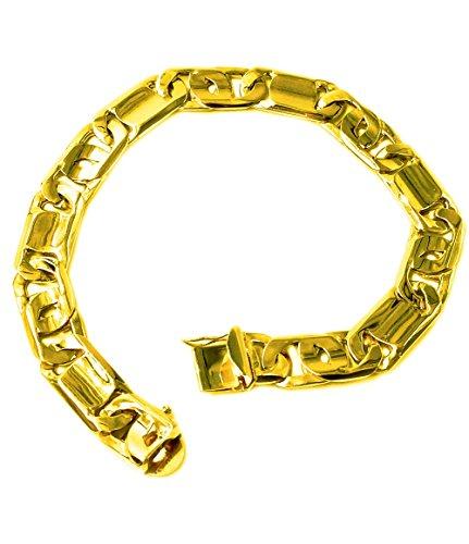 14k Solid Yellow Gold Handmade Tiger Eye Bar Link Mens Bracelet 9