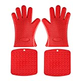 Aspire Heat Resistant Set, 1 Pair Silicone Cooking Gloves + 2 Silicone Pot Holders, Trivet Mat – Red For Sale