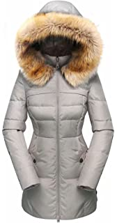 5bf1cafe26e Beinia Valuker Women's Down Coat with Fur Hood with 90% Down Parka Puffer  Jacket