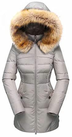 8e2c4e5d980 Beinia Valuker Women s Down Coat with Fur Hood 90D Parka Puffer Jacket  57-Grey-