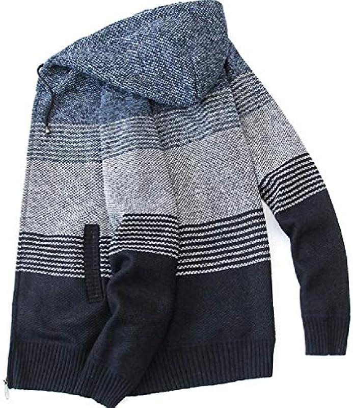 GRMO Men's Hoodie Full Zip Contrast Color Casual Open Front Cardigan Coat: Odzież