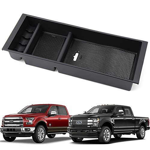 9 MOON Center Console Armrest Storage Box – With USB Hole – Insert Organizer Tray For Ford F150 2015 2016 2017 2018 – Car Interior Accessories – Portable Center Container