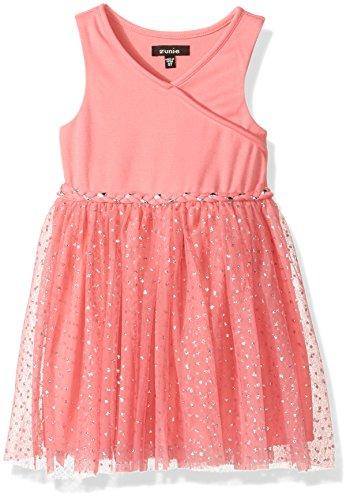 ZUNIE Toddler Girls' Ponte Surplus Bodice to Glitter Mesh Ballerina Skirt Dress, Coral, 3T