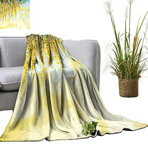 (YOYI Baby Blanket Charms Golden Color Wisteria in Day Watercolor Painting Indoor/Outdoor, Comfortable for All Seasons)