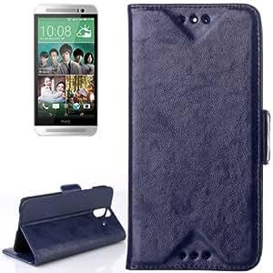 Oil Funda con tapa Case Cover Card Holder Slots & para HTC One E8 (Dark Blue)