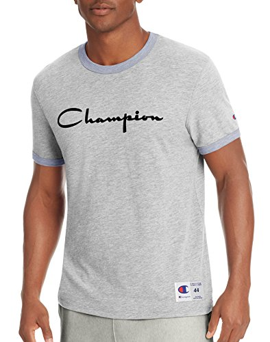 Classic Fit Ringer Tee - Champion Men's Heritage Ringer Tee, Oxford Grey/Imperial Indigo Heather, S