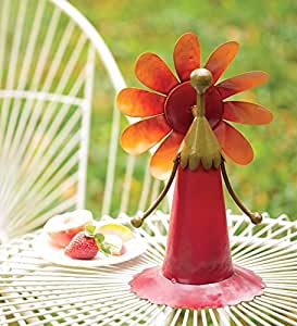 Cuadro de hadas y flores viento Spinner, en color rojo