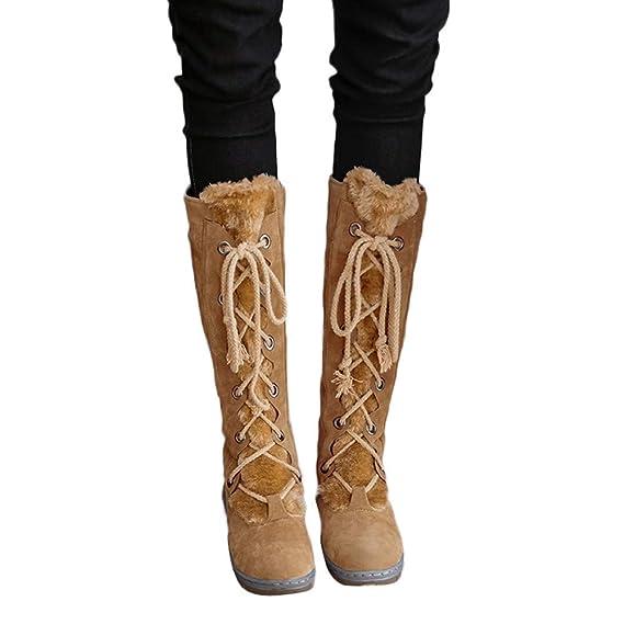 Mujer Botas de Nieve Zapatos Invierno Calientes Botas Altas para Mujer Zapatos Planos de Gamuza con Cordones y Punta Redonda de Mujer Mantener cálidas Botas ...
