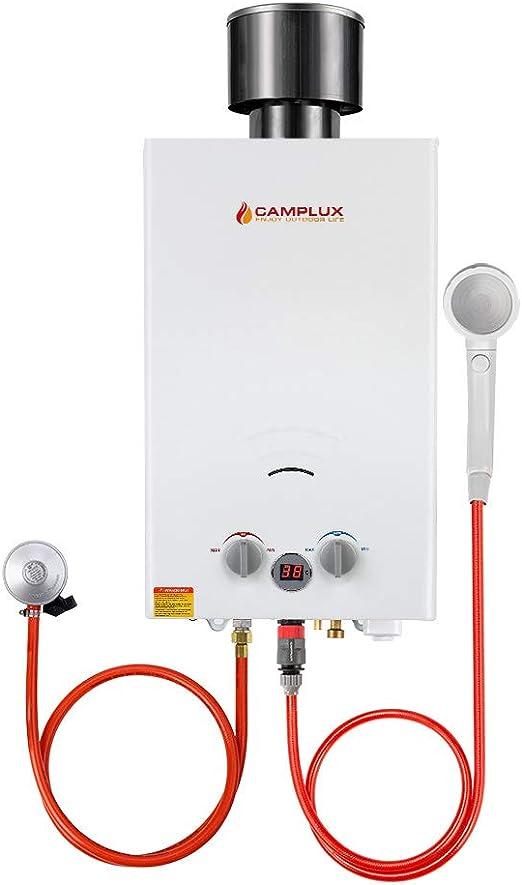 Camplux BW264C Calentador de Agua de Gas sin Tanque con Tapa de lluvia, Norma GAR certificada CE, 10L / min, para el Viaje, RV, Campamento, Caballos