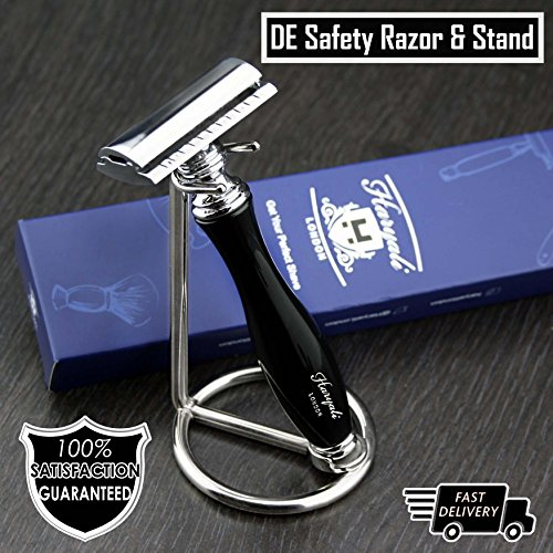 Classic DE Safety Razor in Black & Stainless Steel Stand (Blades Not Included) | Men