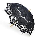TOPTIE Lace Umbrella, Wedding Black Battenburg Parasol, Christmas Gift