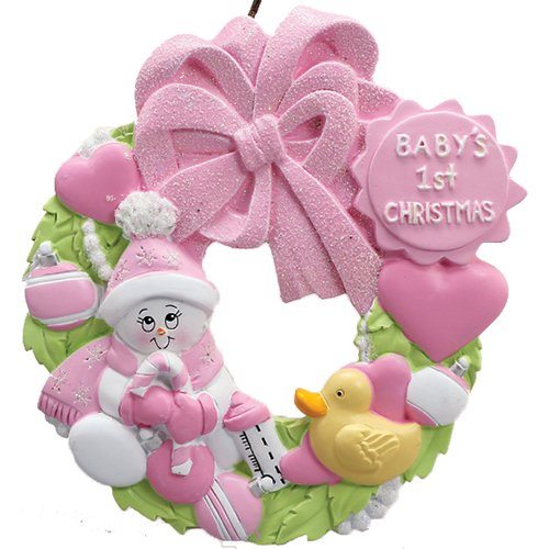 Personalized Baby's 1st Christmas Wreath Tree Ornament 2019 - Snowman Pink Glitter Hat Hold Candy-Cane Toy Heart Girl's New Mom Shower Duck Grand-Daughter - Free Customization (Pink)