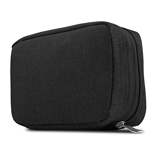 GMYLE Soft Fleece Fabric Storage Pouch Bag Organizer Sleeve Case Portable Travel Kit 7 Inch for Laptop Accessories (USB, Cable, Mouse, Charger, Adapter, Earphones, Flash Hard Drive and More) - Black