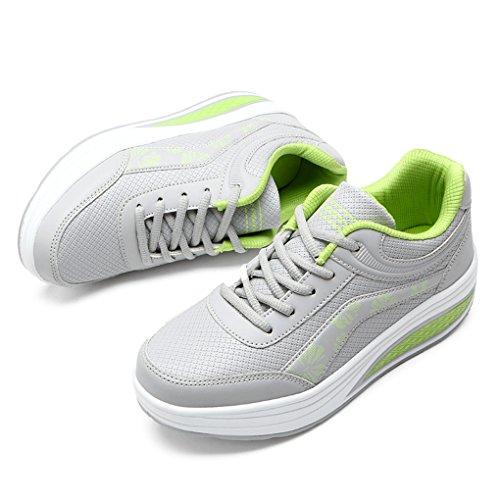 Cybling Fashion Outdoor Womens Athletic Exercise Scarpe Da Passeggio Sport Running Sneakers Con Zeppa Graygreen