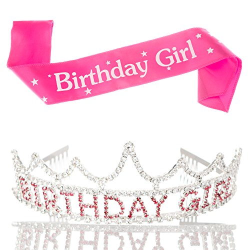 Birthday Girl Tiara (Birthday Girl Tiara and Sash Girls Party Accessories Set Pink and Silver Bundle (Tiara and Sash))