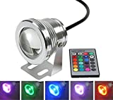 Fashionclubs Christmas Remote Control RGB Led Light,Waterproof Underwater Lamp for Fountain Pond Lighting,10W 12V