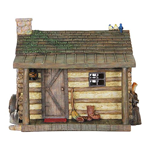 Mini Dollhouse FAIRY GARDEN Accessories - Solar Log Cabin House - My Garden Miniatures ()