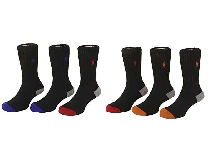 a589177375 Polo Ralph Lauren Toddler/Little/Big Boy's 6-Pairs Athletic Crew Socks