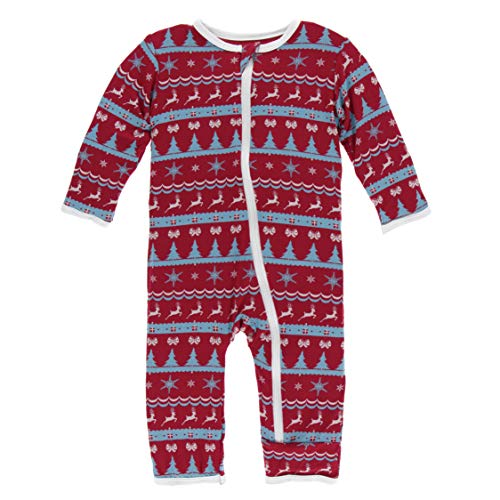 Kickee Pants Little Girls and Boys Holiday Print Coverall with Zipper - Nordic Print, 8 Years