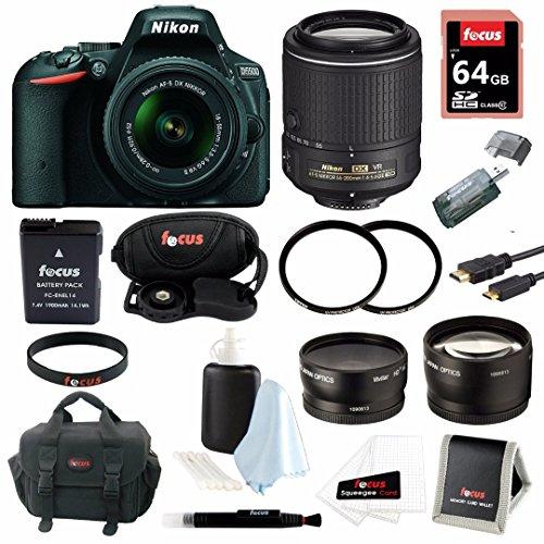 Nikon D5500 SLR Camera (Black) with 4 Lens Kit: 18-55mm, 55-200mm VR Nikkor, and 52mm Wide & Tele Lenses plus 64GB Accessory Bundle