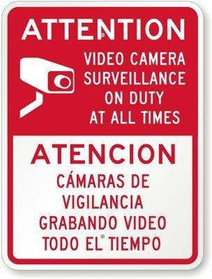 CullarsJultaze señal de Aluminio, Leyenda Atención, cámara ...