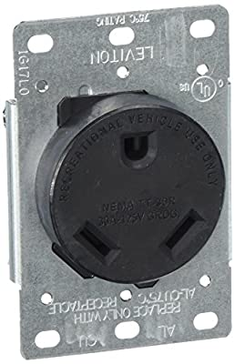 Leviton 7313-S00 30 Amp, 125 Volt, Nema TT-30R, 2P, 3W, Flush Mtg Receptacle, Straight Blade, Industrial Grade, Grounding Side Wired, Steel Strap-Black