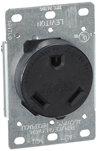 Leviton 7313-S00 30 Amp, 125 Volt, NEMA TT-30R, 2P, 3W, Flush Mtg Receptacle, Straight Blade, Industrial Grade, Grounding Side Wired, Steel Strap - Black, (Receptacle Range Flush)
