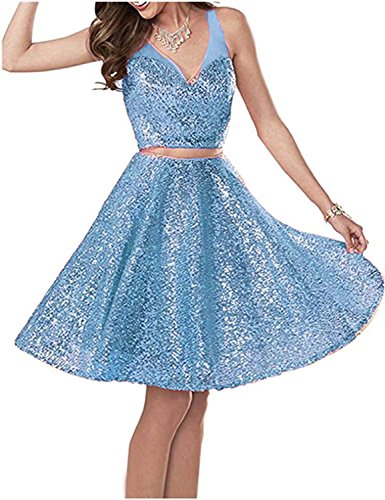 BessDress Two Piece Sequins Short Homecoming Dresses 2018 Illusion Straps Cocktail Party Wedding Guest Gowns BD507