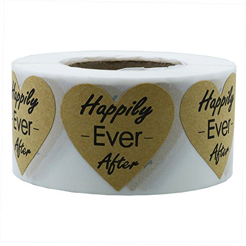 Hybsk Heart Happily Ever After Stickers Kraft 1.5 InchTotal 500 Labels Per Roll]()