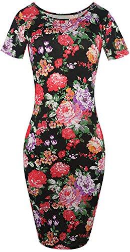 LUNAJANY Women's Short Sleeve Floral Sheath Jersey Dress XL (Dresses Floral Jersey Dress)