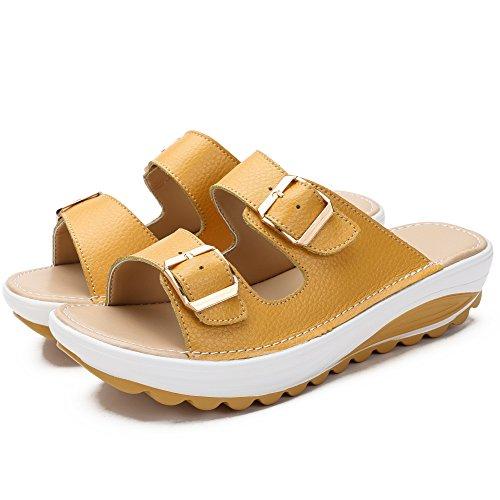 Womens Genuine Leather Wedge Heel Buckle Sandals Casual Anti-Slip Comfy Platform Slippers Yellow zjW5UG