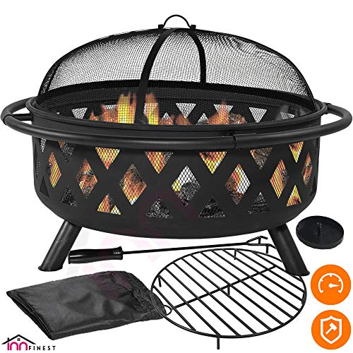 Outdoor Fire Pit Set - Large Bonfire Wood Burning Firepit Bowl - Spark Screen Cover, Fireplace Poker, BBQ Grill Metal Grate, Waterproof Rain Cover - for Outdoor Backyard Terrace Patio (36 Inch) (Bbq Burning Wood Grills)