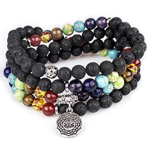 Lava Beads,Mala Prayer Beads OM Buddha Pendant 7 Chakra Tibetan Buddhist Healing Lava Rock Gemstone Meditation Wrap Necklace Bracelet(Lava,OM Buddha)
