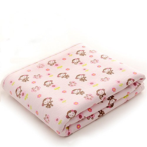 (Cotton Bamboo Fiber Breathable Waterproof Underpads Mattress Pad Sheet Protector Reusable, Soft Cotton Blend (Monkey-Pink, 27