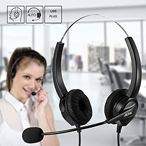Ailink Binaural Corded Headset, Noise Cancelling Mic Cord with USB Plug, Hands-free