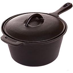 Cajun Cookware Pots 2-quart Seasoned Cast Iron Sauce Pot - Gl10491as