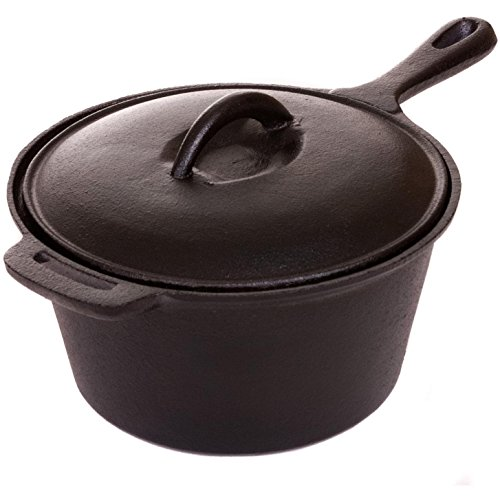 Cajun Cookware Pots 2-quart Seasoned Cast Iron Sauce Pot - Gl10491as