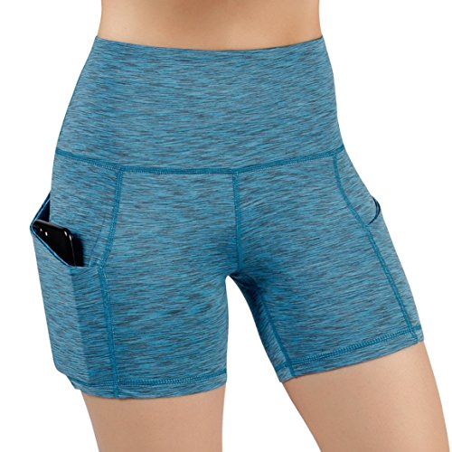 ODODOS High Waist Out Pocket Yoga Short Tummy Control Workout Running Athletic Non See-Through Yoga Shorts,SpaceDyeBlue,Medium