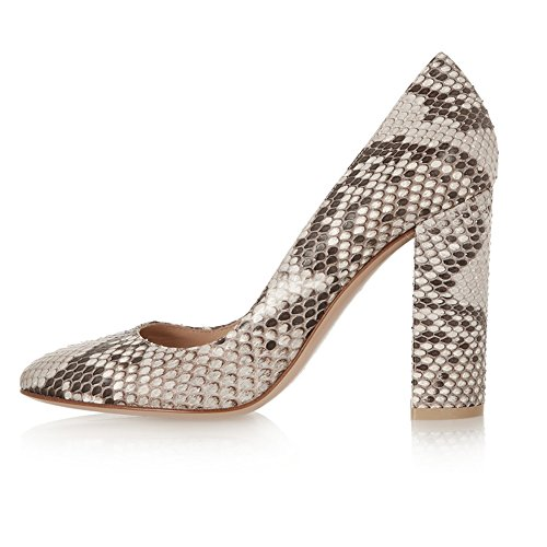 Sammitop Women's Round Toe Block Heel Pumps Neutral Snake Print Dress Shoes Snakeskin US8