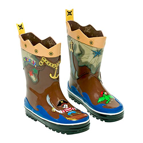 Kidorable Pirate Rain Boot , Brown, 10 - Kids Rubber Waterproof Rain Boots With Non Slip -