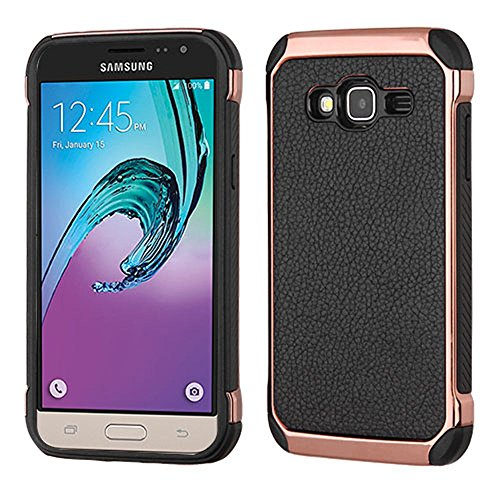 Price comparison product image Asmyna Cell Phone Case for Samsung J3 - Black Lychee Grain(Rose Gold Plating)/Black