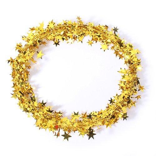 23 Feet Star Tinsel Garland Christmas Decoration (Gold) XSM