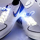 Ruiyue RGB 80cm Glow Shoelaces LED Sport Shoes Laces Glow Stick Flashing Neon Luminous Laces White (Color : White)