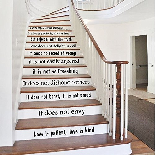 Stair Decals Quotes Love is... Stairway Decals Quote Vinyl Stickers lettering - 1 Corinthians 13 - Family Decor Staircase Decal Stair x235