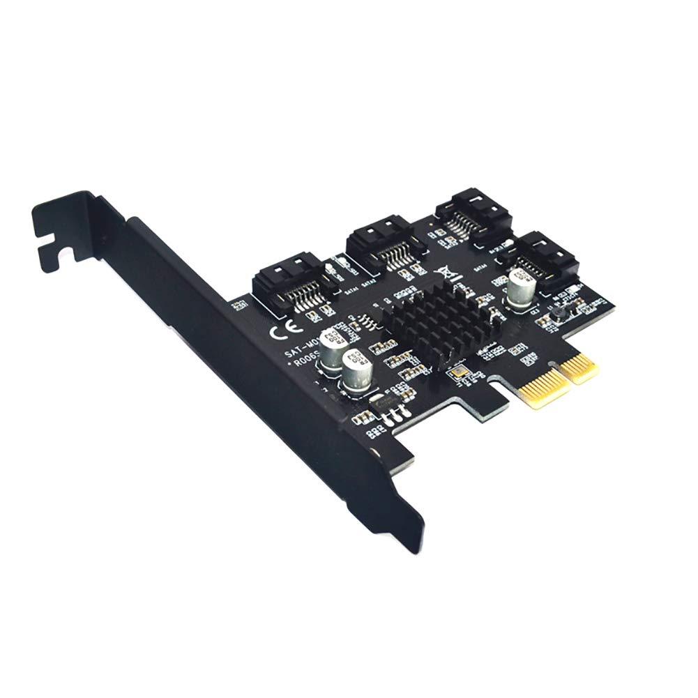 Shentesel 4 Ports 6G PCI-E to SATA 3.0 Expansion Card Controller Converter for Windows