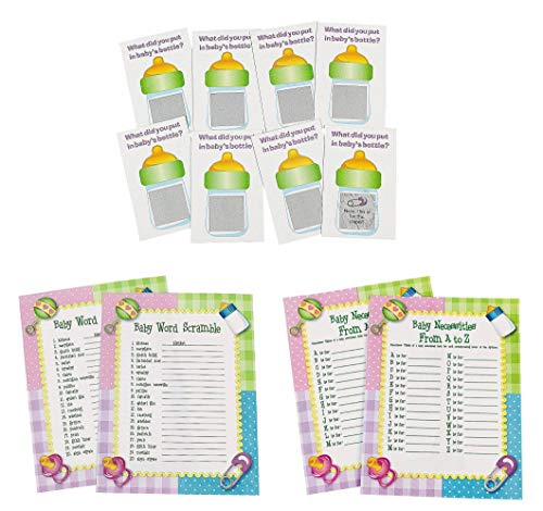 Fun Express Baby Shower Game Sheets Bundle | Scratch Tickets, Word Scramble, from A to Z | Great for Baby Boy Shower Party, Baby Girl Shower Party, Gender Reveal -