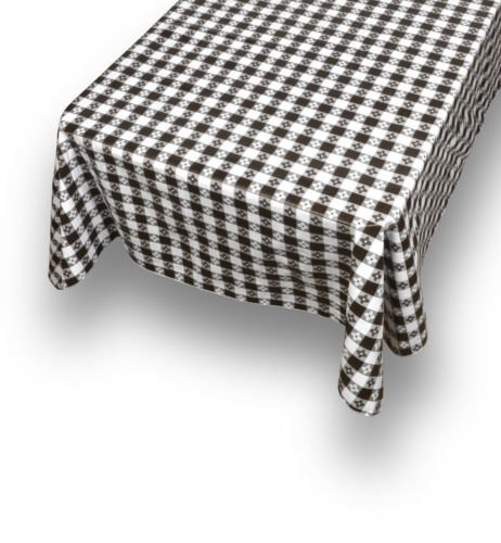 The Pecan Man Tablecloth Rectangle Black and White Checks Flannel back Vinyl Tablecloths 54